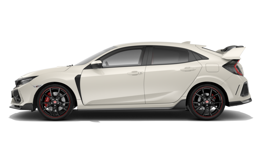 Vista laterale della Honda Civic Type R color Championship White.