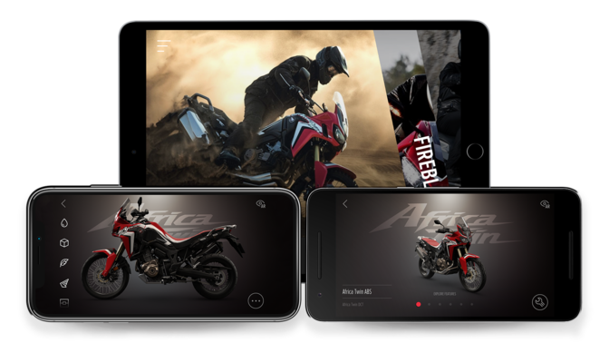 3x Screenshot dell'App Africa Twin.